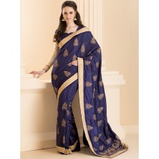 ZIDS-26 NAVY BLUE INDIAN DESIGNER PARTY WEAR SAREE WITH FULL SLEEVE BLOUSE