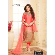 CORAL PINK AND BEIGE TWO TONE EMBROIDERED READY MADE SALWAR SUIT