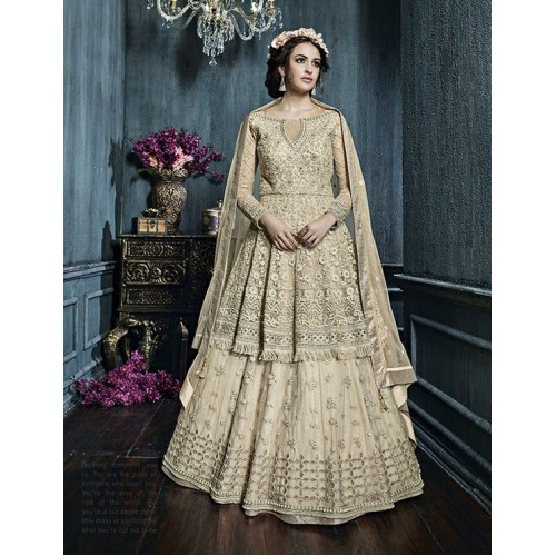 22007 GOLD ZOYA CELEBRITY HEAVY EMBROIDERED INDIAN BRIDAL