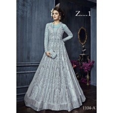 22004-C QUIET GREY HEAVY EMBROIDERED INDIAN BRIDAL READY MADE LEHENGA