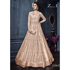 22004-B NUDE HEAVY EMBROIDERED INDIAN BRIDAL READY MADE LEHENGA