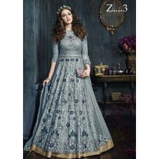 22001-B GREY HEAVY EMBROIDERED INDIAN BRIDAL WEDDING READY MADE LEHENGA