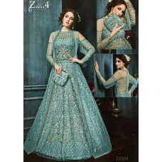 22003-D TURQUOISE HEAVY EMBROIDERED INDIAN BRIDAL WEDDING READY MADE LEHENGA