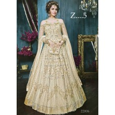 22005-D OFF WHITE HEAVY EMBROIDERED INDIAN BRIDAL READY MADE GOWN