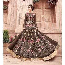 21004 ZOYA ENGAGED DARK BROWN HEAVY EMBELLISHED GOWN